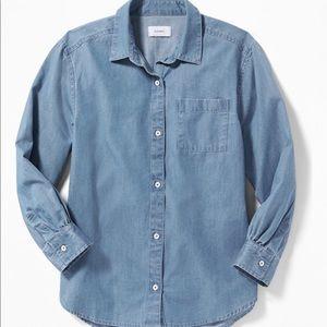 Chambray Boyfriend Tunic Shirt for Women
